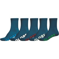 Globe Mens Socks - 5 Pairs - Navy - Stealth Crew