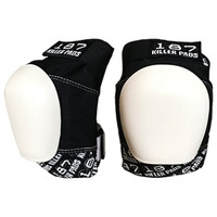 187 Pro Knee Pad Black White Caps Size Adult Medium