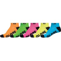Globe Mens Socks - 5 Pairs - Neon Ankle - Assorted