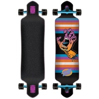 Santa Cruz Drop Down Longboard Skateboard Screaming Hand Neon 41""