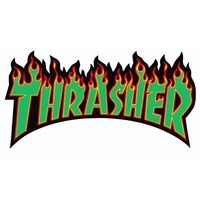 Thrasher Flame Logo Sticker Medium Green