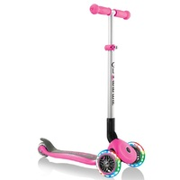 Globber Primo Foldable Lights 3 Wheel Scooter Deep Pink