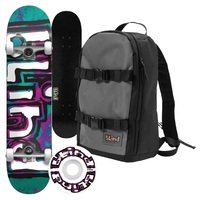 Blind Complete Skateboard Water Color Teal Purple Mini 7.25 Wide With Backpack
