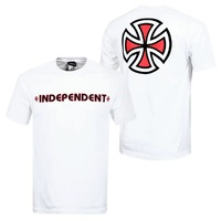 Independent Bar Cross T-Shirt Youth Size 12 White