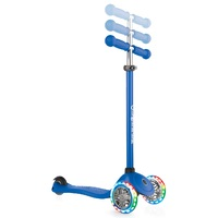 Globber Primo Lights Anodized T-Bar 3 Wheel Scooter Navy Blue