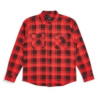Brixton Bowery Flannel Large Red Black