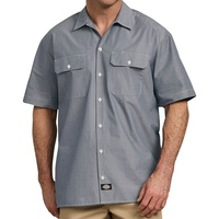Dickies Short Sleeve Navy Chambrey Shirt Mens Small