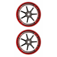 District 100mm W-Series Scooter Wheels - Cast Alloy Core - Black Red