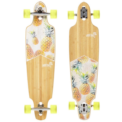 "OBFIVE PINEAPPLE VIBES 38"" DROP THROUGH LONGBOARD SKATEBOARD COMPLETE"