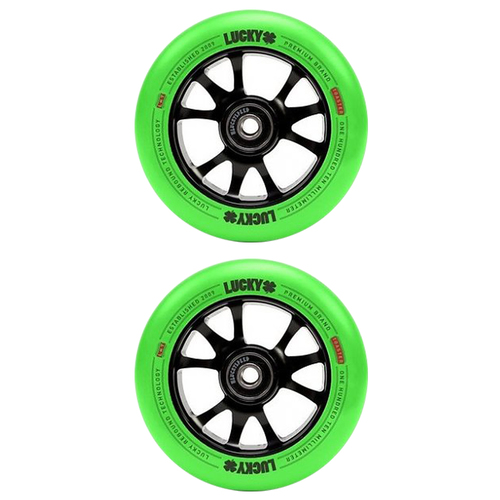 Lucky Toaster 110mm Scooter Wheel Set - Black Green Neon