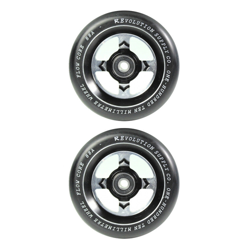 Revolution 110mm Flow Core Scooter Wheels Set Of 2 With Bearings Black Black